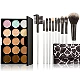Anself 15 Color Cream Concealers Palette Eye Face Cosmetic Makeup Brush Set