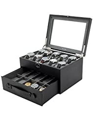Tech Swiss 20 Watch Box Black Leather Large Compartments