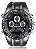 Rubber Strap Analog Digital LED Dual Time Display Mens Watch