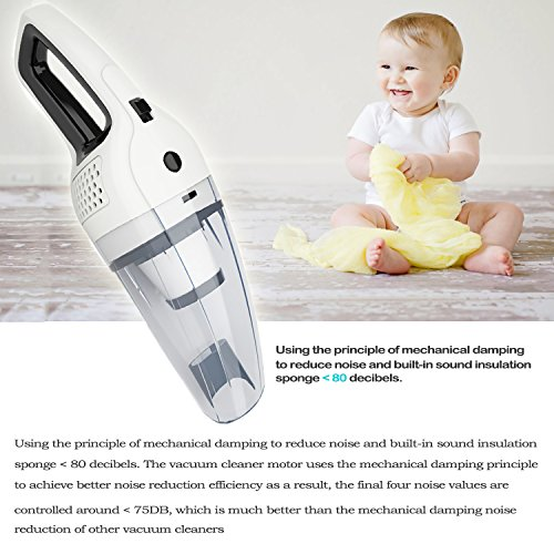 HUNLEE Cordless Handheld Vacuum, 120W Portable Cleaner, Rechargeable Lithium Hand Vacuum, Lightweight Dust Cleaner for Home/Car/Pet Hair Cleaning - Dry Wet Amphibious by HUNLEE (Image #6)