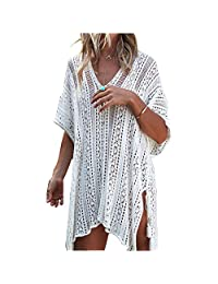 HPHY Women Cover Up Girls Swimsuit Beach Bikini Swimwear Crochet Dress