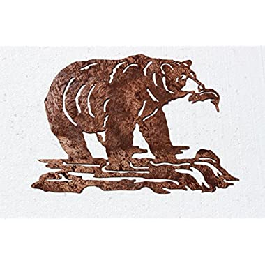 Grizzly Bear Fishing in the River Metal Wall Art