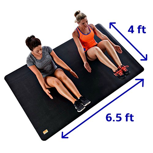 Pogamat Large Exercise Mat 78'' x 48'' x 1/4'' Thick (6.5' x 4') Anti-Tear Workout Mat And Yoga Mats. Perfect For All Types Of Exercises. Does Not ''Bunch Up'' While Working Out. Used WITH Or Without SHOES by Pogamat