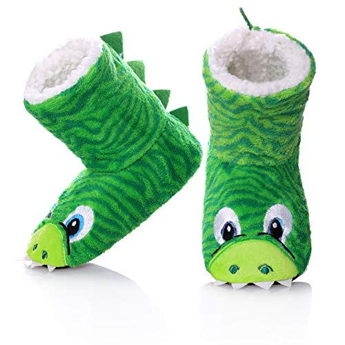 FANZERO Kids Girls Boys Floor Slippers Cute Animal Soft Warm Plush Lining Non-Slip House Shoes Winter Boot Socks 2-7 Year Old (M / 4-5 Year Old, Green) -