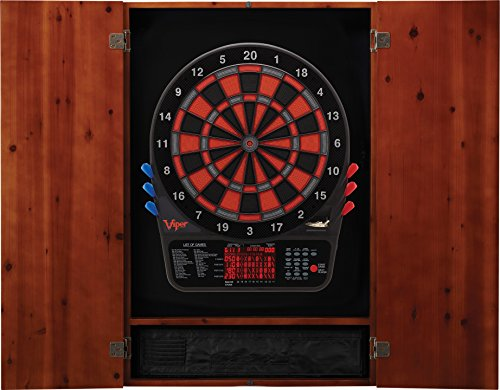 Viper Metropolitan Electronic Soft Tip Dartboard & Cabinet Bundle: Premium Set (800 Dartboard and Darts), Cinnamon Finish ()