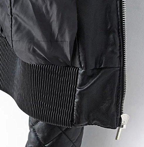 Cazadoras Piel Moto Abrigos Chaquetas Jackets Mujer Baymate Invierno Negro Biker Imitacion Cremallera Deportiva Yq40Hzw