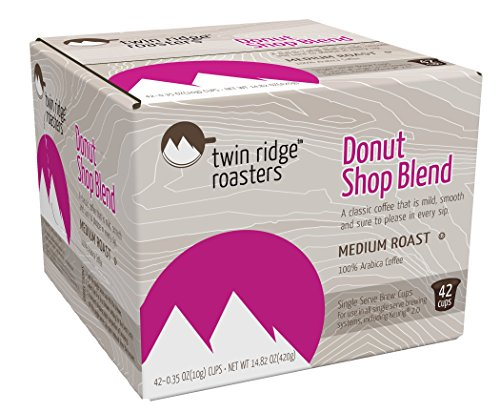 Twin Ridge Roasters Coffee Compatible with 2.0 Brewers, Donut Shop Blend 42 Count,