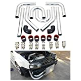"""Universal 2"""" 51mm Intercooler Pipe Piping Polished Aluminum Kit With Silicone Hoses and Stainless Steel T-Clamps Black & Red DIY Kit"""