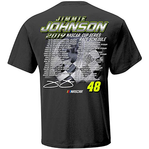 (Checkered Flag 2019 NASCAR Cup Series Driver Schedule T-Shirt-Jimmie Johnson)