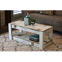 White Farmhouse Coffee Table with Shelf