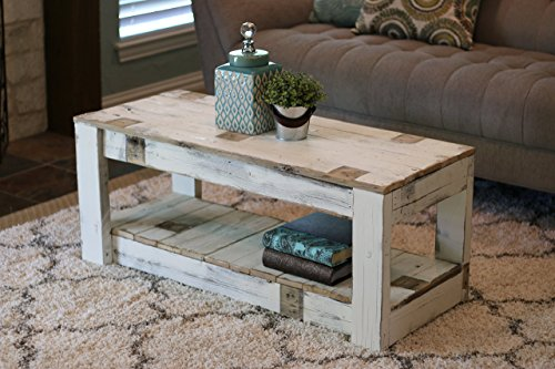 White Farmhouse Coffee Table with Shelf by Doug and Cristy Designs