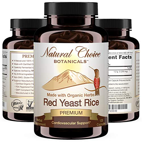 Certified Organic Red Yeast Rice Supplement - 120 Capsules, 2 Month Supply
