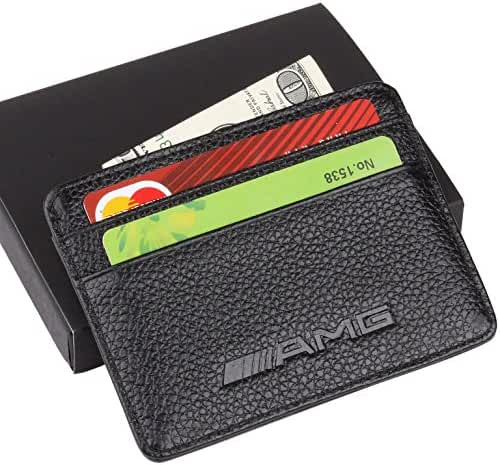 AMG Mercedes Benz Slim Wallet Black with 4 Credit Card Slots - Genuine Leather