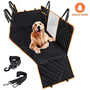 CLEEBOURG Dog Car Seat Cover Durable Scratchproof Waterproof Car Back Seat Cover for Dogs with Seat Anchors and 2 Dog Seat Belts, Dog Car Hammock for Different Cars 13