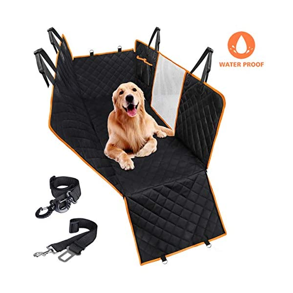 CLEEBOURG Dog Car Seat Cover Durable Scratchproof Waterproof Car Back Seat Cover for Dogs with Seat Anchors and 2 Dog Seat Belts, Dog Car Hammock for Different Cars 1