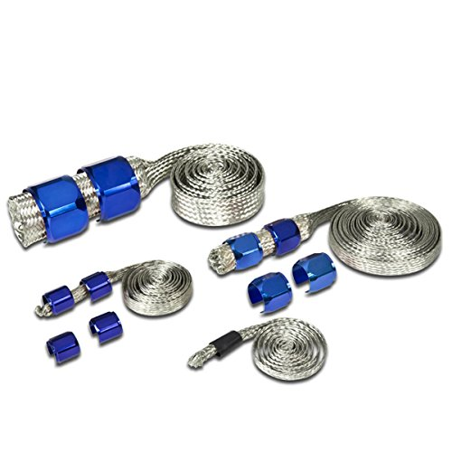 Universal Stainless Steel Braided Dress-Up Hose Cover Kit (Blue) ()