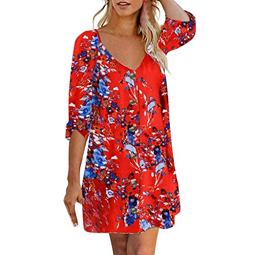 NANTE Top Casual Loose Dress Roll Tab 3/4 Sleeve V Neck Button Dresses Floral Print Flowy Mini Tunic Skirt Women's Gown Sundress (Red, XL)