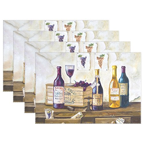 Naanle Placemat Set of 6, Bottles of Wine and Grapes Art Painting Heat-resistant Washable Table Place Mats for Kitchen Dining Table Decoration