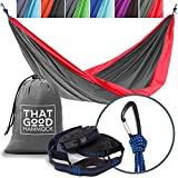 THAT GOOD Hammock Double Camping Hammock w/Hammock Straps & Wiregate Carabiners. Portable Nylon Parachute Hammock Backpacking Camping & Travel (Red & Grey)