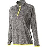 Holloway Ladies Force Training Top (X-Small, Carbon Heather/Bright Yellow)