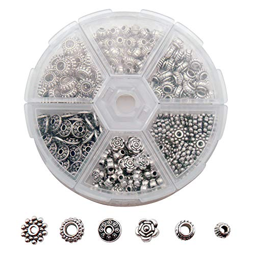 300 PCS Tibetan and Bali Silver Finish Metal Alloy Spacer Beads for Jewelry Making Findings 6 Style Look Bulk Bead Aeeortment Great for DIY, Bracelets, Necklaces and Crafting ()