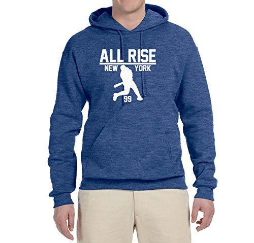 Wild Bobby All Rise for Judge | New York Baseball 99 | Mens Sports Hooded Sweatshirt Graphic Hoodie, Vintage Heather Blue, (Baseball Sports Hooded Sweatshirt)