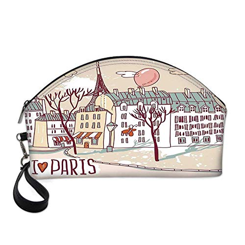 (Paris Small Portable Cosmetic Bag,Illustration of Paris with Old City Buildings and Eiffel Urban Street Balloon For Women,One size)
