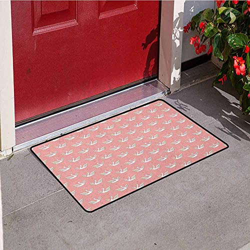 Gloria Johnson Swan Inlet Outdoor Door mat Hand Drawn Style White Birds on Coral Backdrop with Patterned Wings and Little Hearts Catch dust Snow and mud W29.5 x L39.4 Inch Multicolor ()