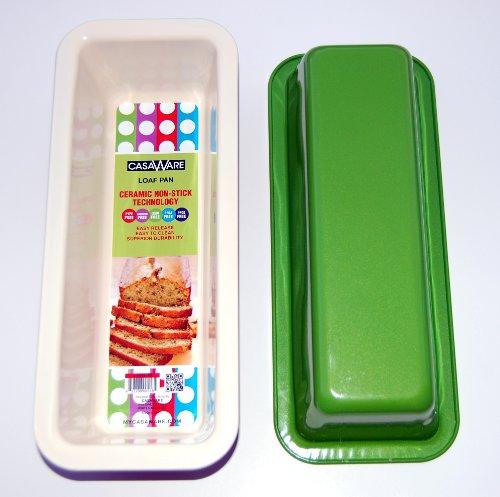 casaWare Ceramic Coated Loaf Pan 12 x 5 x 3-Inch (Cream/Green) (Loaf Green Pan)