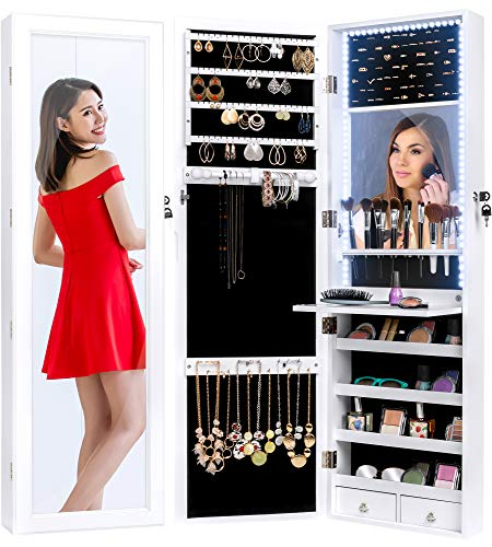 Best Choice Products Full Length Hanging Mirror Jewelry Armoire Cabinet, Makeup Storage Organizer, Wall Mounted, w/Interior Mirror, LED Lights, Lock, Cosmetics Tray, Brush Holders, 4 Shelves