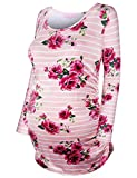 JOYMOM Maternity Striped Shirt,Long Sleeve Tunic for Women Baggy Tops Side Ruched Red Flower Print Postpartum T-Shirt Casual Tees Street Wear Pink X-Large
