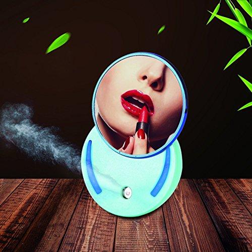 YOMIJN Facial Steamers Cool Nano Mist Spray LED Makeup Mirror Face SPA Steam Sprayer For Dry & Oil Skins 25mL (Blue)