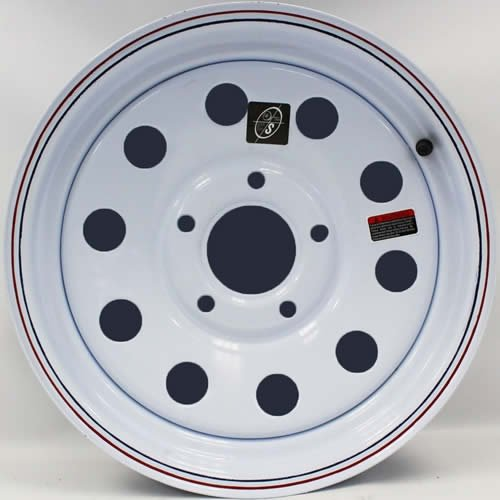 15'' x 5'' White Modular Trailer Wheel with Red & Blue Pin Stripe (5-5'' Bolt Circle) by Southwest Wheel