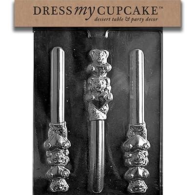 Dress My Cupcake DMCV132 Chocolate Candy Mold, Valentine Bear Pretzel, Valentine's Day