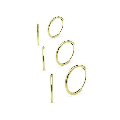 925 Sterling Silver 3 Pair Set of 8 10 12mm Sleeper Round Endless Hoop Earrings YJVtq