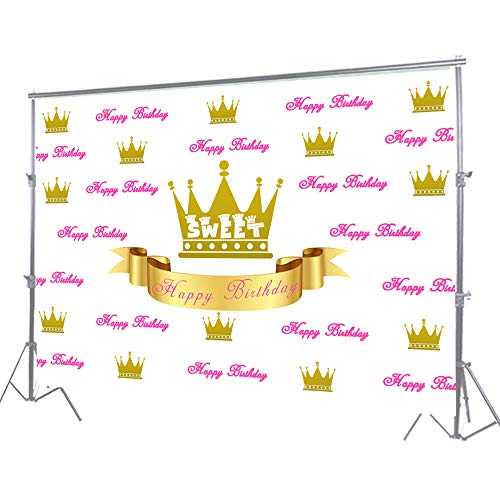 HUAYI 6.5x5ft Pink Royal Princess Baby Photography Backdrops Gold Glitter Crown for Girl Portrait Background Vinyl Baby Shower Birthday Party Banner Decor Dessert Table -