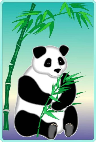 Panda Bear Sitting by a Stalk of Bamboo - Etched Vinyl Stained Glass Film, Static Cling Window -