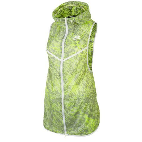 Nike Womens Tech Hyperfuse Hooded Vest-Volt/White/Black-Small - Nike Leather Jacket