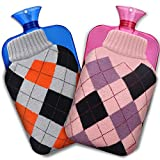 CAVN 2-Pack Hot Water Bottle, Transparent Hot Water Bag 2 Liter with Knit Cover for Pain Relief, Hot and Cold Therapy (Gray Plaid + Pink Plaid)
