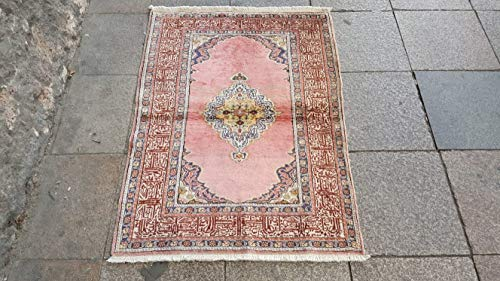 Medallion Silk Rug - 2.11x4.1 Feet Silk And Cotton Medallion Design Handmade Rug Faded Rug Pink Handwoven Carpet Vintage Carpet.Code:F913