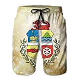 Qinf New Cartoon Fashion Coat Of Arms Of Aruba Men's Beach Pants Casual Shorts For Man