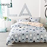 ORUSA Arrow Pattern Twin Duvet Cover for Kids Adults with Zipper Closure and 4 Corner Ties Cotton Teen Girls Bedding Sets Twin Gray