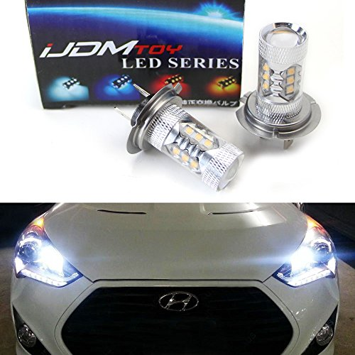 Beam Hyundai Sonata (iJDMTOY Max 80W High Power CREE Q5 Type H7 LED Bulbs For Hyundai Genesis Sonata Veloster Accent on High Beam Daytime Running Lights)