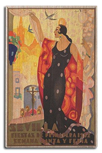 Sevilla - Fiestas de Primavera (artist: Balcera) Spain c. 1932 - Vintage Poster (10x15 Wood Wall Sign, Wall Decor Ready to Hang)