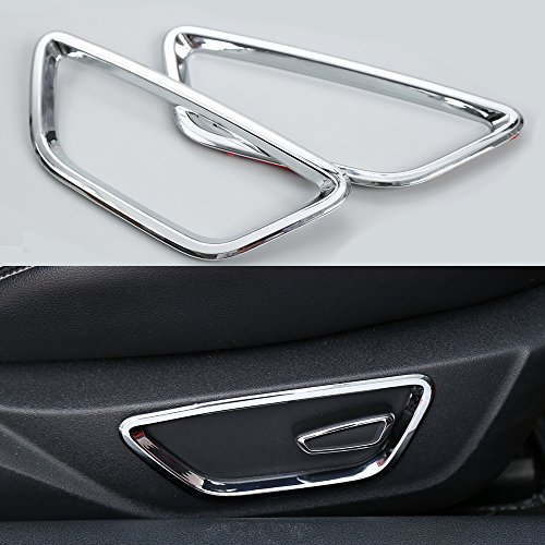 BORUIEN For Ford Mustang 2015-2017 ABS Car Seat Adjust Control Button Decoration Ring Frame Trim Cover Sticker (chrome silver)