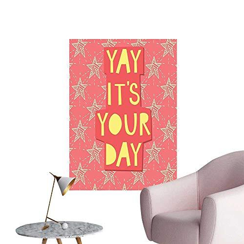 "Wall Painting Yay Its You Day Inspiring Motivati al Quotati Stars Print Orange High-Definition Design,24""W x 40""L"