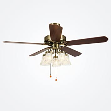 Ceiling Fan Lights Sanguinesunny Ceiling Fan Light Fixture 52 Inch Indoor Vintage Style 5 Light Hanging Lamp With Metal Blades 110v Amazon Com