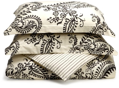 Regency Collection 310-Thread-Count Maxine Stripe King Duvet Set, Black - Regency King Duvet Cover