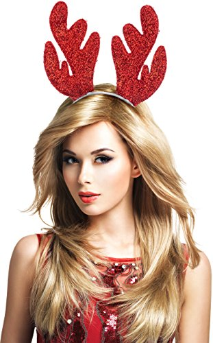 [Party Headband - Glitter Reindeer Antlers Christmas Headband and Easter (Red on Sliver)] (Grinch Costume Diy)