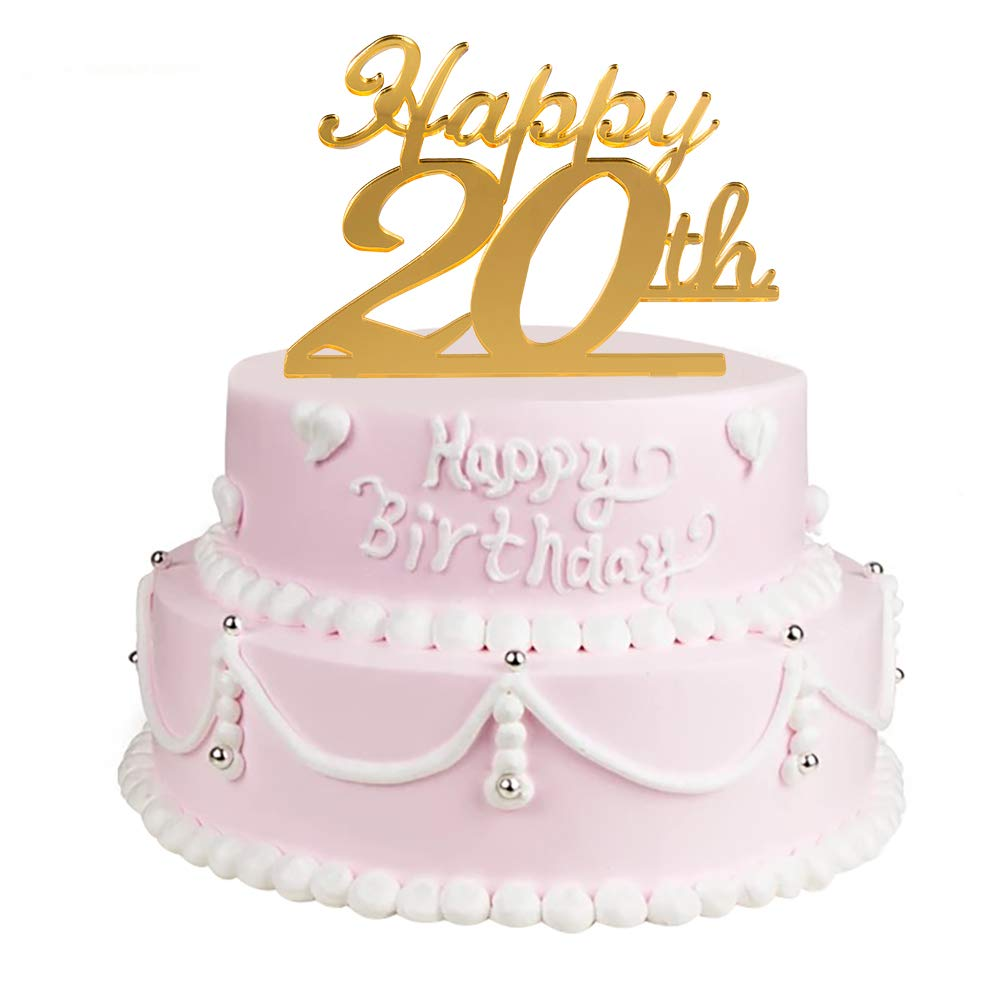 Golden 20th Birthday Cake Topper20th Party Decoration20th Acrylic TopperCellebration Anniversary Cupcake Topper